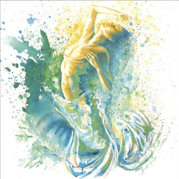 Carte de souhaits 5x5, La déferlante, de l'artiste Anouk Lacasse, dimension : 5 x 5 pouces largeur, avec enveloppe, Vous pouvez inscrire votre message à l'intérieur, Carte vendue à l'unité