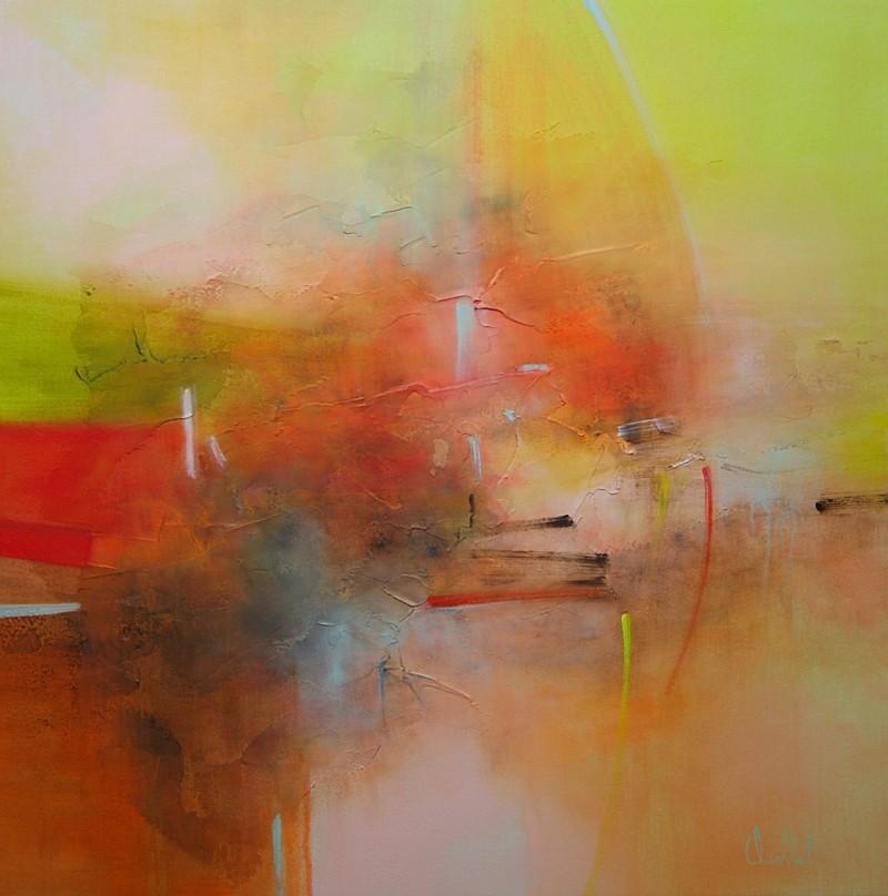 La longue route, de l'artiste Sophie Ouellet, Tableau, acrylique sur toile, Création unique, dimension : 24 x 24 po de largeur