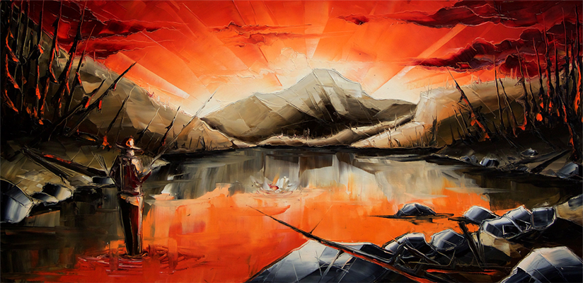 Le pêcheur du nord, de l'artiste Jean-Simon Bégin, Tableau, Huile sur toile, Création unique, dimension 24 x 48 pouces de largeur