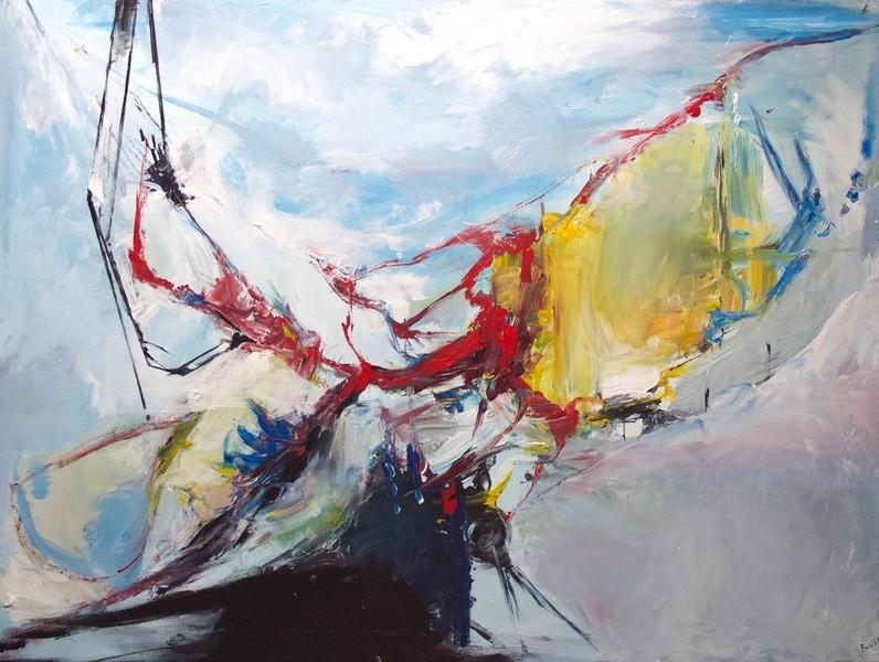 Le rêve expérimental, de l'artiste Benoit Genest Rouillier, Tableau, Acrylique sur toile, Création unique, dimension : 36 x 48 po de largeur