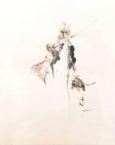 Le barde détaché, de l'artiste Benoit Genest Rouillier, Oeuvre sur papier, Techniques mixtes, Création unique, dimension : 13.75 po x 10.50 po de largeur
