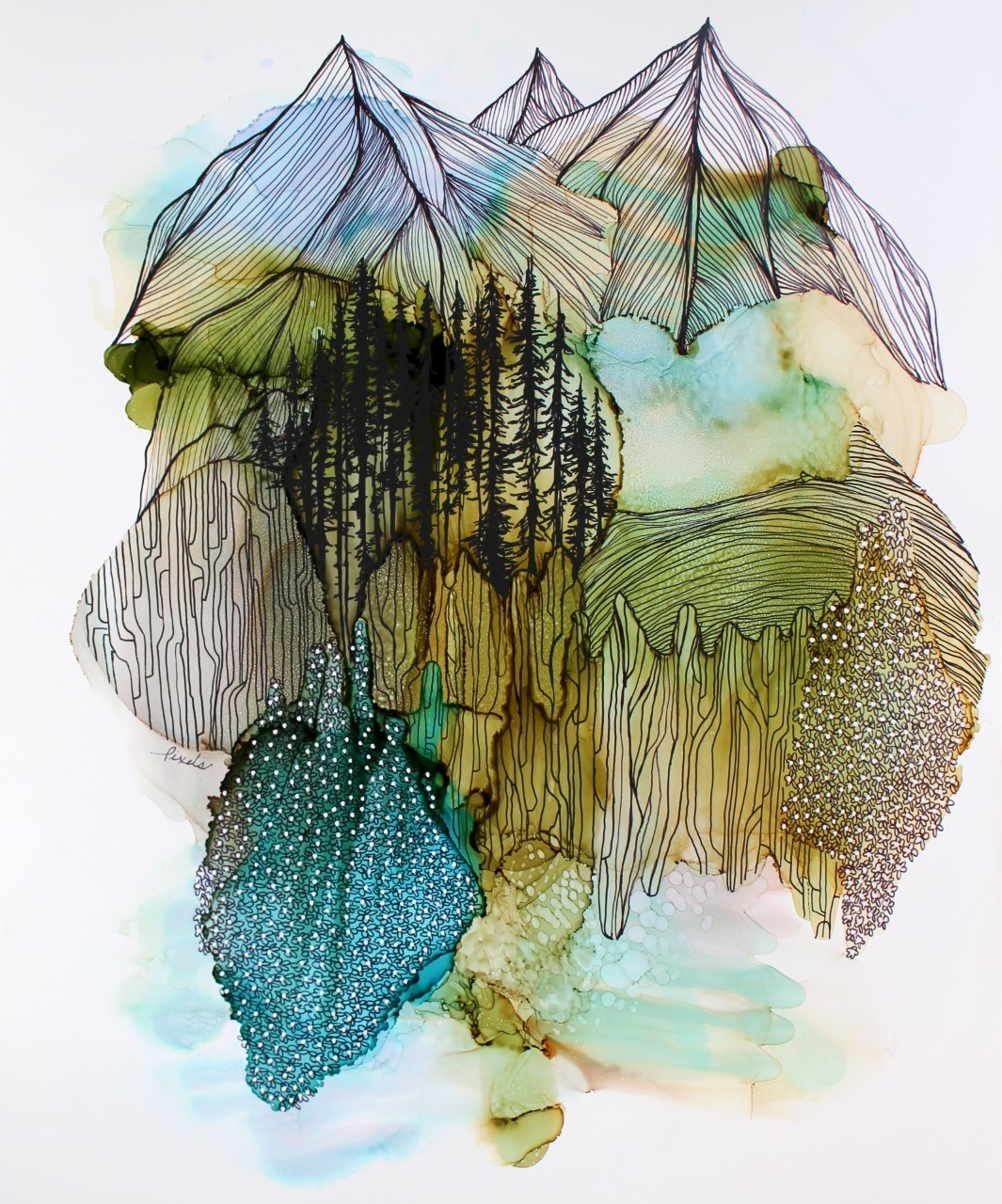 Le souffle des montagnes, de l'artiste Nancy Létourneau, Oeuvre sur papier Yupo, médium encre à l'alcool et acrylique, Création unique, dimension 22 x 18  de largeur