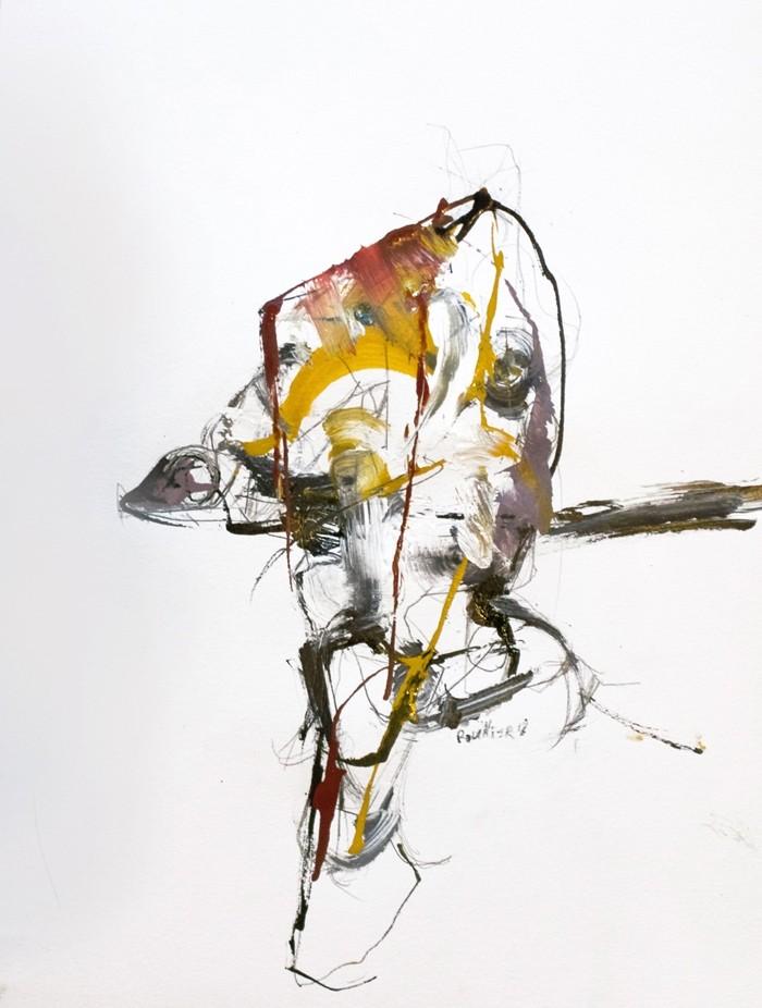 Le trophée, de l'artiste Benoit Genest-Rouillier, Oeuvre sur papier : techniques mixtes, Création unique, dimension 13.75 x 10.5 pouces de largeur