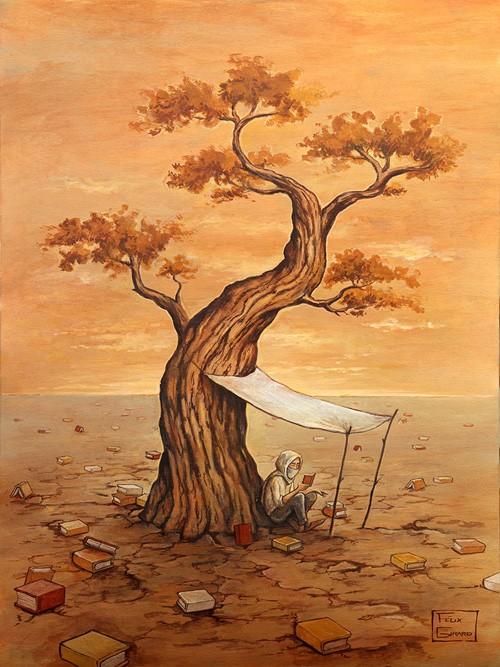 Le désert, affiche, de l'artiste Félix Girard, sur papier Hahnemühle Fine Art Photo Rag avec de l'encre à pigment, dimension : 18 x 14 pouces de largeur, affiche prête à être encadrée