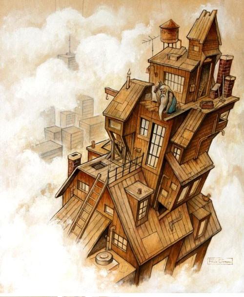 Le Gratte-ciel, affiche, de l'artiste Félix Girard, sur papier Hahnemühle Fine Art Photo Rag avec de l'encre à pigment, dimension : 19 x 13 pouces de largeur, affiche prête à être encadrée