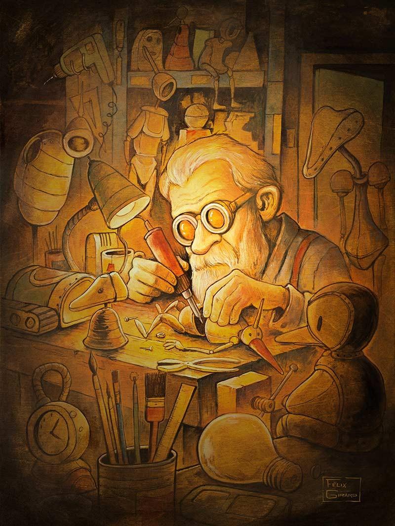 Carte de souhaits 7x5, Le marionnettiste, de l'artiste Félix Girard, dimension : 7 x 5 pouces largeur, <b>sans texte, avec enveloppe, Vous pouvez inscrire votre message à l'intérieur, Carte vendue à l'unité
