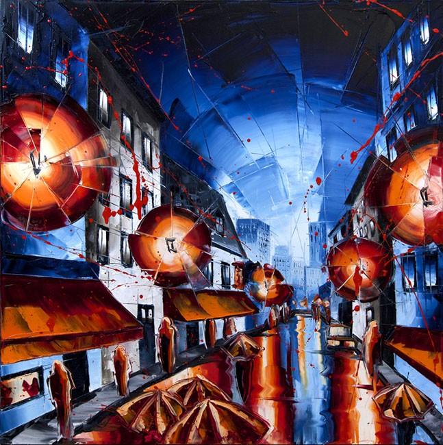 Les tours en transparence, de l'artiste Jean-Simon Bégin, Tableau, Huile sur toile, Création unique, dimension 30 x 30 pouces de largeur