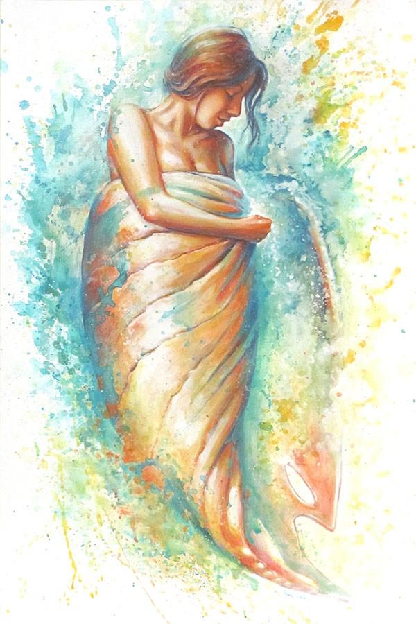 Carte de souhaits 7x5, Libérer les eaux qui dorment, de l'artiste Anouk Lacasse, dimension : 7 x 5 pouces largeur, avec enveloppe, Vous pouvez inscrire votre message à l'intérieur, Carte vendue à l'unité