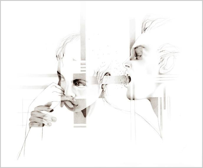 Local institute, de l'artiste Marie Chantal Le Breton, Dessin : Graphite sur papier , Création unique, dimension 16 x 20 pouces de largeur