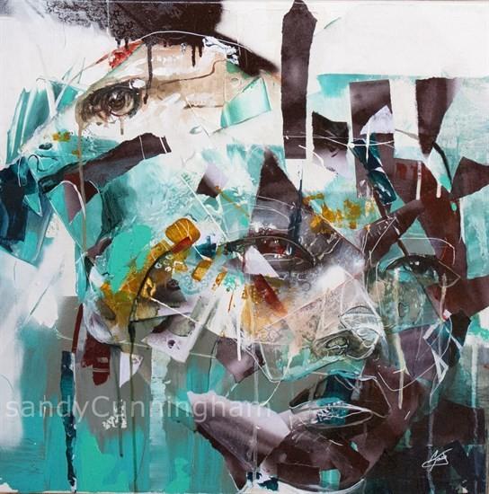 Maître des 4 vents, de l'artiste Sandy Cunningham, Tableau, Techniques mixtes sur toile, Création unique, dimension : 24 x 24 po de largeur