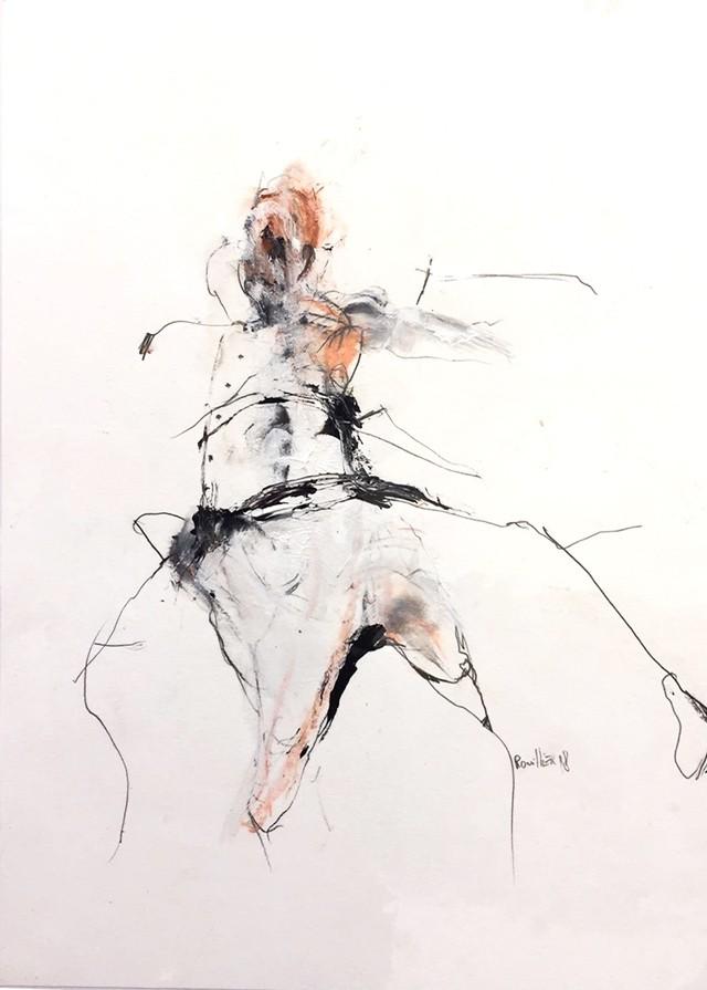 Mémé consistante, de l'artiste Benoit Genest Rouillier, Oeuvre sur papier, Techniques mixtes, Création unique, dimension : 13.75 po x 10.5 po de largeur