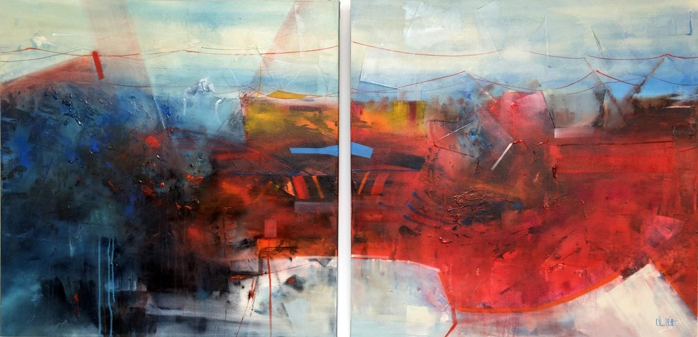 Mutation, de l'artiste Sophie Ouellet, Tableau, acrylique sur toile, 2 pièces (diptyque), Création unique, format total de l'oeuvre : 36 x 72 pouces de largeur