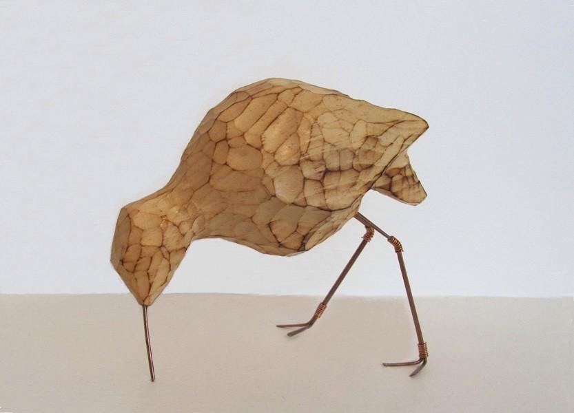 Oiseau Rivage, de l'artiste Bernard Hamel, Sculpture, bois tilleul, Création unique, dimension : 6.5 x 5.25 x 3.5 po