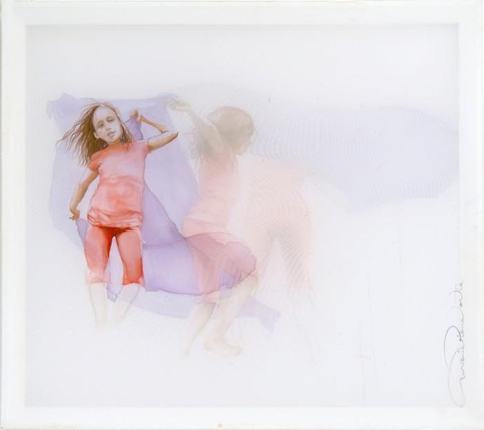 Petite danseuse (lilas), de l'artiste Marie-Pierre Lortie, Oeuvre sur soie, encre, triple voile sur cadre, Création unique,dimension 32 x 35 pouces de largeur, vue A