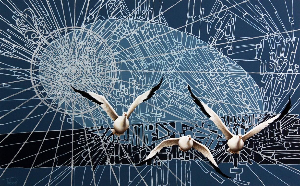 Perte de nord VI, de l'artiste Elyse Turbide, Acrylique sur toile, Dimension : 30 po x 48 po de largeur
