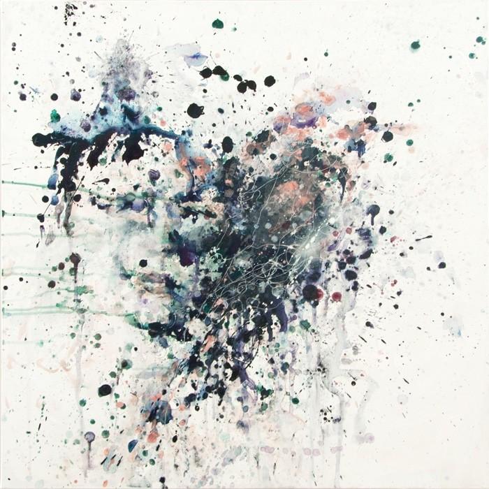Plume d'âme, de l'artiste Anne-Marie Villeneuve, Tableau, Acrylique et fil à coudre sur toile, Création unique, dimension : 30 x 30 po de largeur