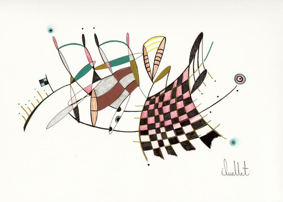 Prendre du recul (o.encadrée), de l'artiste Sophie Ouellet, Oeuvre sur papier sans acides, Encre, pastel sec et graphite, Création unique, dimension : 9 x 12 po de largeur