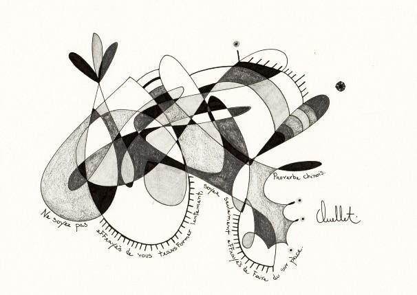Proverbes chinois (o.encadrée), de l'artiste Sophie Ouellet, Oeuvre sur papier sans acides, Graphite, Création unique, dimension : 8 x 9 po de largeur