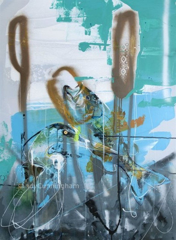 Quenouille, de l'artiste Sandy Cunningham, Tableau, Acrylique sur toile, Création unique, dimension : 40 x 30 po de largeur