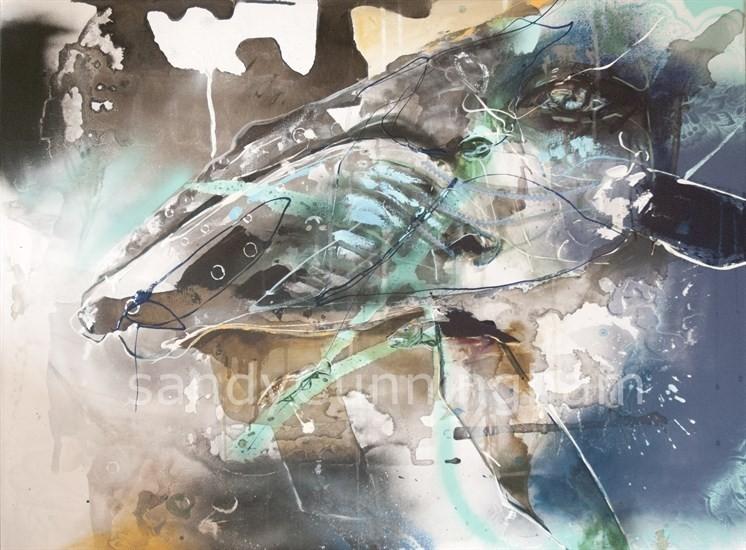 Sedna, de l'artiste Sandy Cunningham, Tableau, Techniques mixtes sur toile, Création unique, dimension : 30 x 40 po de largeur