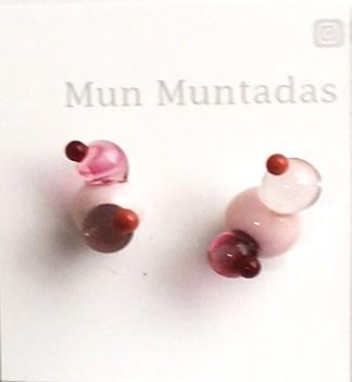 Boucles d'oreille, Seed Petita (rose), no 3, de l'artiste Mun Muntadas, Matière première : verre au chalumeau