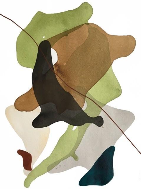 Terre et mer, no 09, de l'artiste Vanessa Sylvain, Dessin, Acrylique sur papier, Création unique, dimension : 16 x 12 pouces de largeur