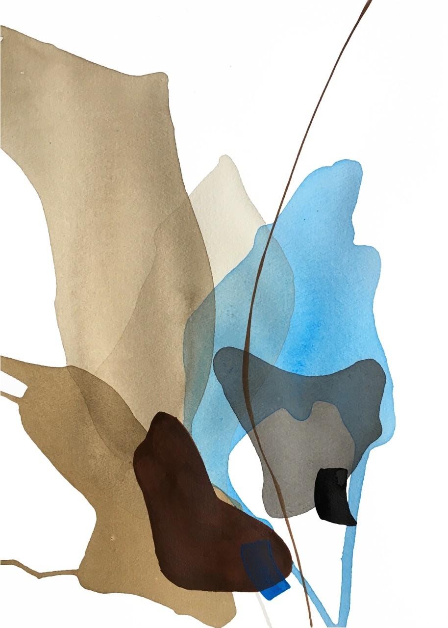 Terre et mer, no 11, (o.encadrée) de l'artiste Vanessa Sylvain, Oeuvre sur papier, Acrylique, Création unique, dimension : 18 x 13 pouces de largeur