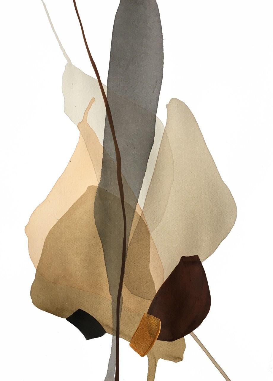 Terre et mer, no 12, de l'artiste Vanessa Sylvain, Oeuvre sur papier, Acrylique, Création unique, dimension : 18 x 13 pouces de largeur