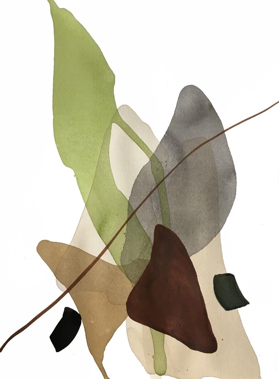 Terre et mer, no 13, de l'artiste Vanessa Sylvain, Oeuvre sur papier, Acrylique, Création unique, dimension : 18 x 13 pouces de largeur
