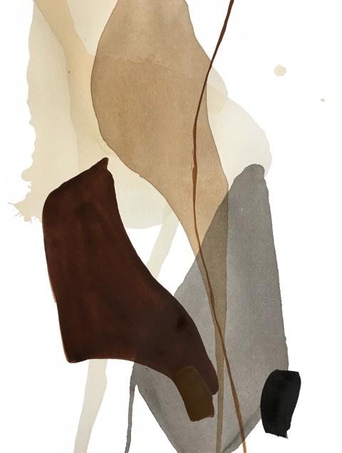 Terre et mer, no 17, de l'artiste Vanessa Sylvain, Oeuvre sur papier, Acrylique, Création unique, dimension : 16 x 12 pouces de largeur