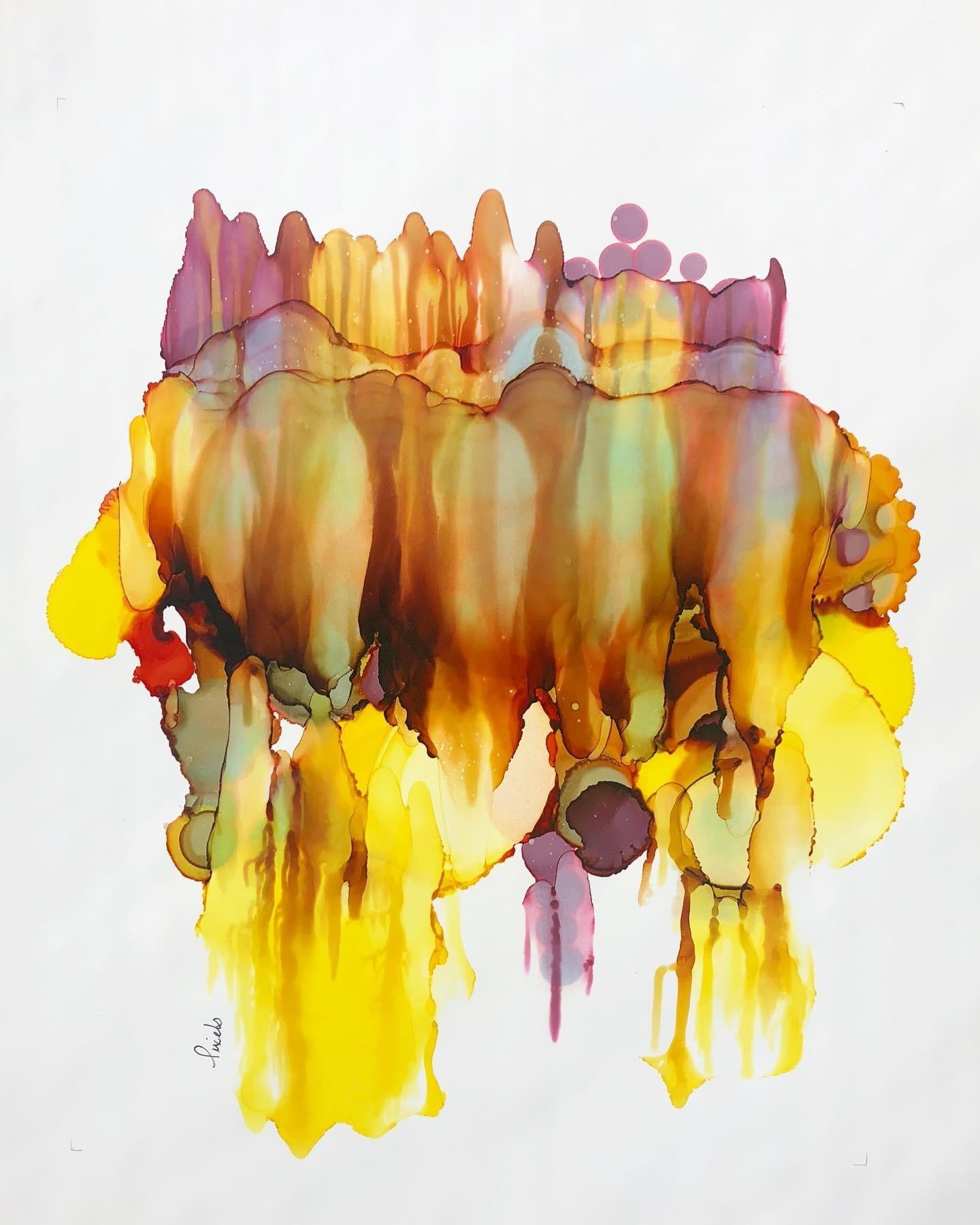 Terre inconnue (o.encadrée), de l'artiste Nancy Létourneau, Oeuvre sur papier Yupo, médium encre à l'alcool, Création unique, dimension 22 x 18  de largeur