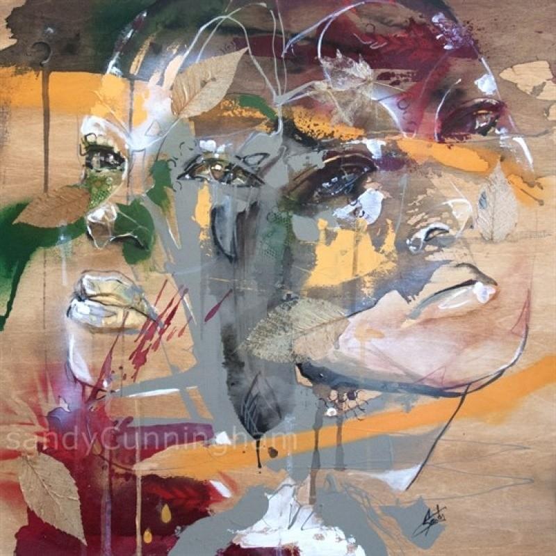The Ancients, de l'artiste Sandy Cunningham, Tableau, Techniques mixtes, Création unique, dimension : 24 x 24 po de largeur