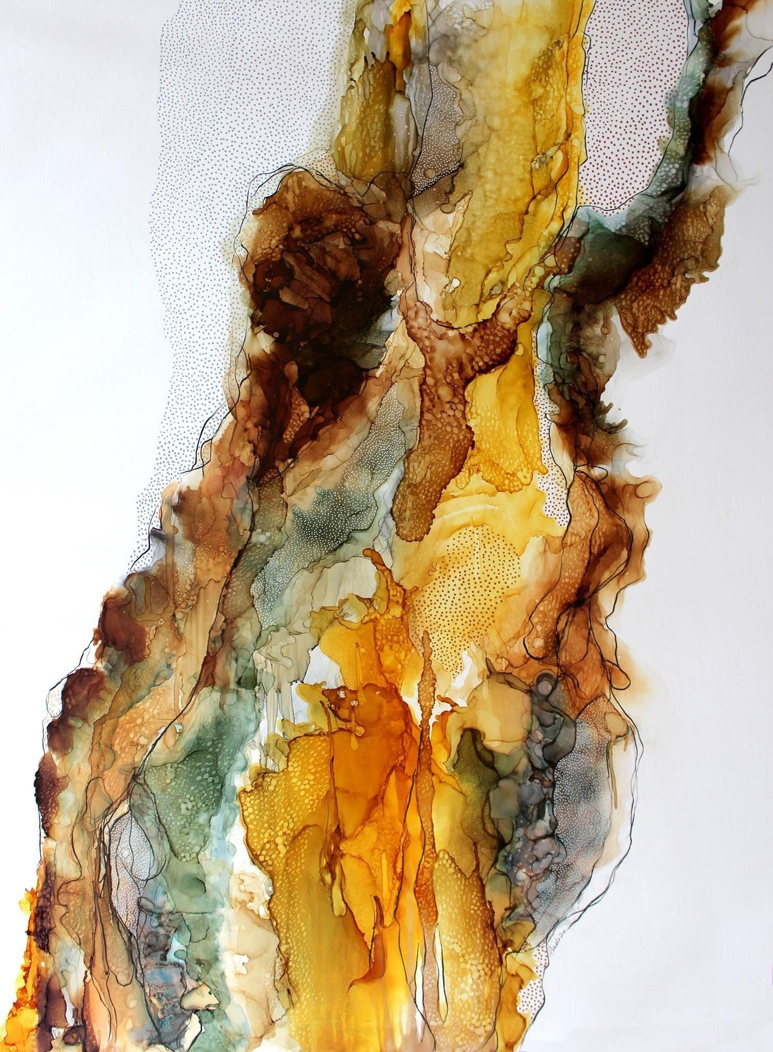 The skin, de l'artiste Nancy Létourneau, Oeuvre sur bois, médium encre à l'alcool et acrylique sur Terraskin marouflé, Création unique, dimension 48 x 36 de largeur