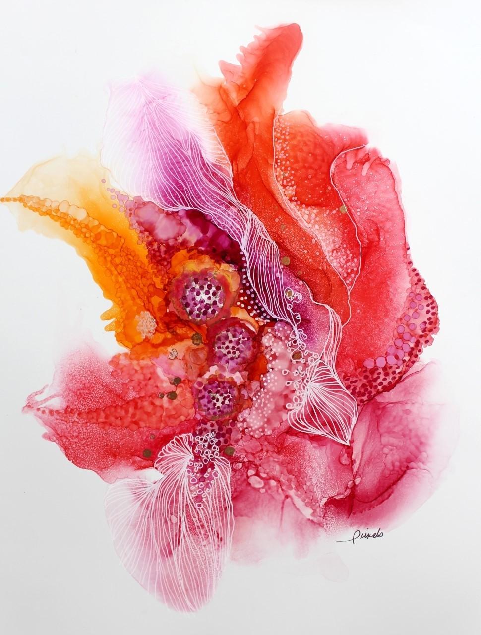 Rêver, de l'artiste Nancy Létourneau, Oeuvre sur papier Yupo, médium encre à l'alcool et acrylique, Création unique, dimension 20 x 16 de largeur