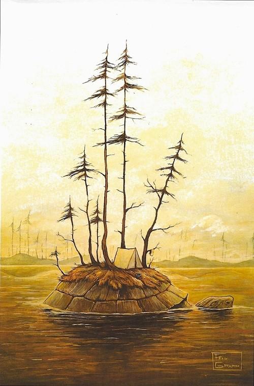 Turtle Island, affiche, de l'artiste Félix Girard, sur papier Hahnemühle Fine Art Photo Rag avec de l'encre à pigment, dimension : 18 x 14 pouces de largeur, affiche prête à être encadrée
