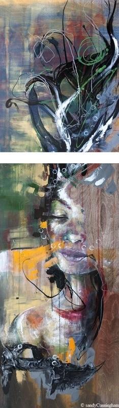 Underwater (diptyque), de l'artiste Sandy Cunningham, Tableau, Techniques mixtes sur bois, 2 pièces, Création unique, dimension chaque unité : 48 x 24 pouces et 30 x 24 pouces, format total de l'oeuvre : 78 x 24 pouces de largeur
