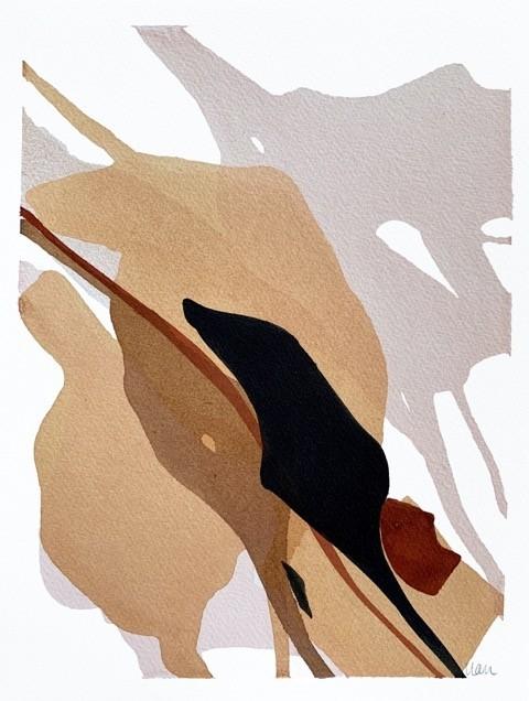 Until we meet, no 1, de l'artiste Vanessa Sylvain, Oeuvre sur papier, Acrylique sur papier, Création unique, dimension : 12 x 9 pouces de largeur