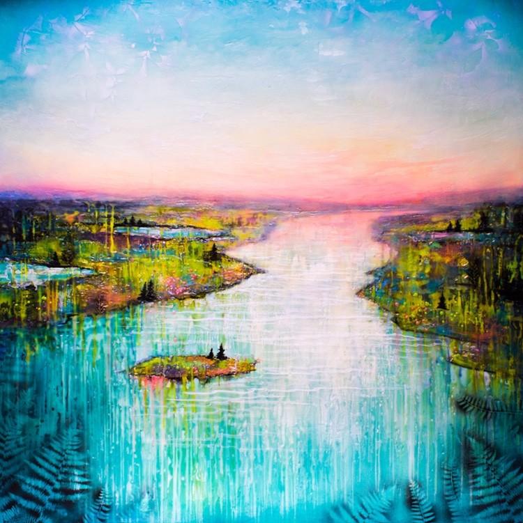 Vers l'aube, de l'artiste Andrée-Anne Laberge, Tableau, Encaustique sur bois, Création unique, dimension : 40 x 40 po de largeur