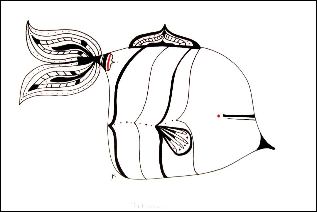 Yakame, de l'artiste Kirkov, Oeuvre sur papier, encre, dimension : 6 x 9 po de largeur