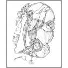 A007, (d.encadré), de l'artiste Dorothée Couture, Dessin : Encre sur papier, Création unique, dimension 17 x 14 pouces de largeur