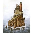 Carte de souhaits 7x5, Le phare, de l'artiste Félix Girard, dimension : 7 x 5 pouces largeur, sans texte, avec enveloppe, Vous pouvez inscrire votre message à l'intérieur, Carte vendue à l'unité