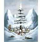 Carte de souhaits 7x5, Le village, de l'artiste Félix Girard, dimension : 7 x 5 pouces largeur, sans texte, avec enveloppe, Vous pouvez inscrire votre message à l'intérieur, Carte vendue à l'unité