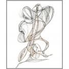 A008, (d.encadré), de l'artiste Dorothée Couture, Dessin : Encre sur papier, Création unique, dimension 19 x 10 pouces de largeur
