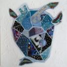Le coeur qui s'emballe pour l'infini d'un ciel étoilé, de l'artiste Kim Durocher, Tableau, Acrylique et Techniques mixtes sur bois, Série : Joie, Création unique, dimension : 20 x 20 po de largeur