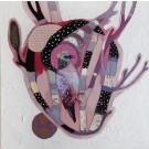 Le coeur qui s'emballe pour l'écho des forêts, de l'artiste Kim Durocher, Tableau, Acrylique et Techniques mixtes sur bois, Série : Joie, Création unique, dimension : 20 x 20 po de largeur