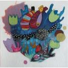 Le coeur qui s'emballe pour les secrets des eaux silencieuses, de l'artiste Kim Durocher, Tableau, Acrylique et Techniques mixtes sur bois, Série : Joie, Création unique, dimension : 20 x 20 po de largeur