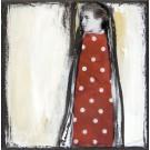 L'aventureuse, no 9, de l'artiste Anik Lachance, Collection, L'armée de femmes, Tableau, Techniques mixtes, Création unique, dimension : 6 x 6 po de largeur