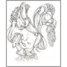 A005, (d.encadré), de l'artiste Dorothée Couture, Dessin : Encre sur papier, Création unique, dimension 17 x 14 pouces de largeur