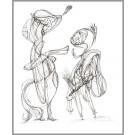 A009, de l'artiste Dorothée Couture, Dessin : Encre sur papier, Création unique, dimension 14 x 11 pouces de largeur