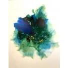 Abysse (o.encadrée), de l'artiste Marie-Pier Sanfaçon, Sur papier Yupo, oeuvre encadrée, techniques mixtes, Création unique, dimension : 14 x 11 po de largeur